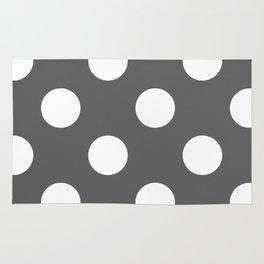 Large Polka Dots - White on Dark Gray Rug