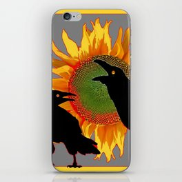 Two Contentious Crows/Ravens & Yellow Sunflower Grey Art iPhone Skin