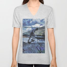 Tipping Point -Skateboarder Launching - Outdoor Sports Unisex V-Neck