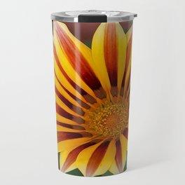 Single Flower Close Up Gazania Red Stripe Travel Mug