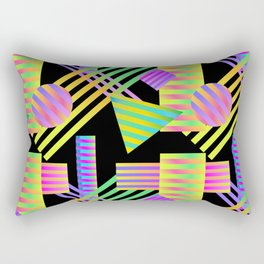 Neon Ombre 90's Striped Shapes Rectangular Pillow