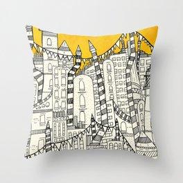 Big Sun Small City Throw Pillow