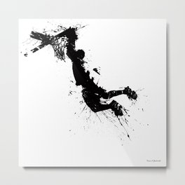 Basketball player dunking in ink Metal Print