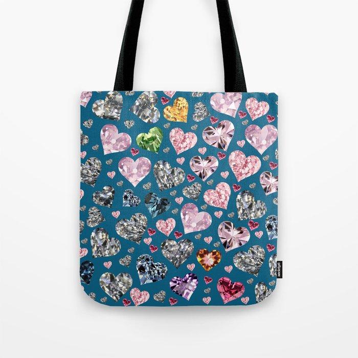 Heart Diamonds are Forever Love Blue Tote Bag