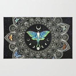 Lunar Moth Mandala with Background Rug