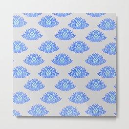 Lotus Pattern Grey Metal Print