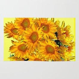Yellow Sun Flowers Bouquet on Lemon Yellow Rug