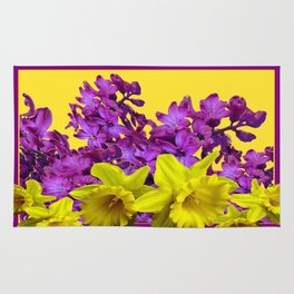 Sunny Yellow Daffodile Lilac  Purple Floral Art Rug