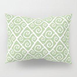Mid Century Modern Diamond Swirl Pattern Sage Green Pillow Sham