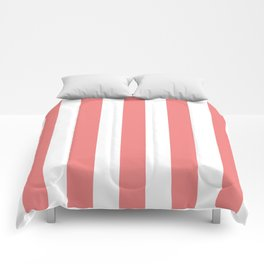 Light coral pink - solid color - white vertical lines pattern Comforters