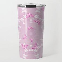 Pretty pink butterflies on flower mandala Travel Mug