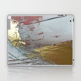 Darling [2]: a minimal, abstract mixed-media piece in pink, white, and gold by Alyssa Hamilton Art Laptop & iPad Skin