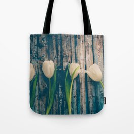 White Easter Tulip Flowers on Wooden Blue Old Planks Tote Bag