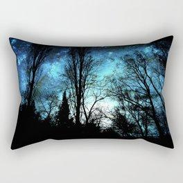 Black Trees Deep Teal SPACE Rectangular Pillow