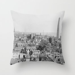 Vintage Photograph of Charlestown Massachusetts  Throw Pillow