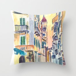 Marvellous Corfu Streets in Greece Throw Pillow