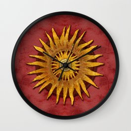 """""""Aztec Sun and pickled coral"""" Wall Clock"""