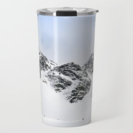 Switzerland mountains covered in snow in the winter blue skies Travel Mug