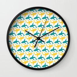 Yellow and teal shark pattern Wall Clock