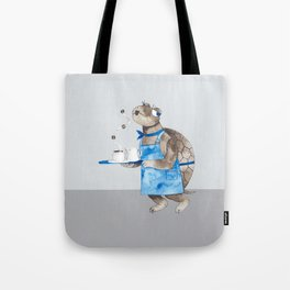 Turtle waitress coffee time Tote Bag