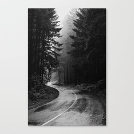 The Dark Path (Black and White) Canvas Print