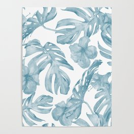 Gorgeous Blue Tropical Leaves + Flowers Poster