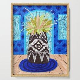 La Casa Azul drawing by Amanda Laurel Atkins Serving Tray