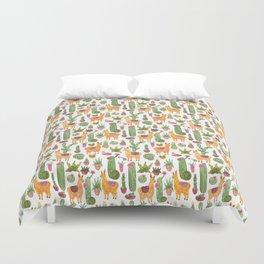 watercolor alpaca clique with cacti and succulents Duvet Cover
