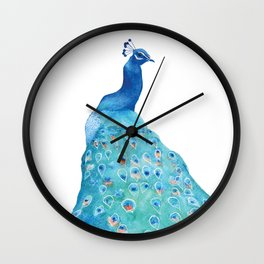 Peacock, teal bird, watercolor painting, home decor Wall Clock