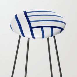 Watercolor lines pattern | Navy blue Counter Stool