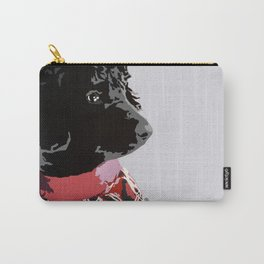 Black Standard Poodle in Grey and Red Carry-All Pouch