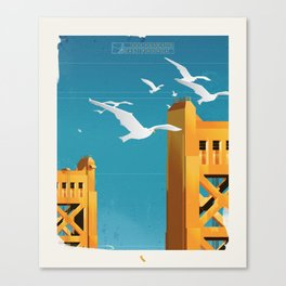 Sacramento Tower Bridge Travel Poster Canvas Print