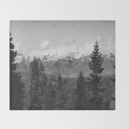 Snow Capped Sierras - Black and White Nature Photography Throw Blanket