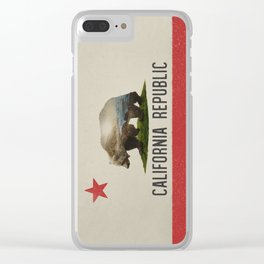California Grizzly Bear Flag Clear iPhone Case