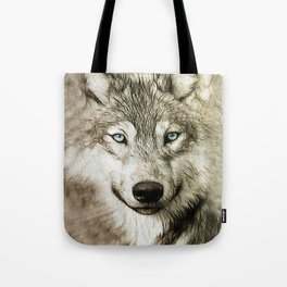 Smokey Sketched Wolf Tote Bag