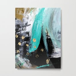 Fairy Dreams: an abstract mixed media piece in black, white, teal, and gold Metal Print