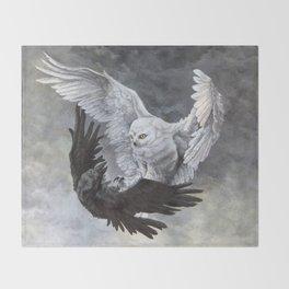 Yin Yang Owl and Raven Throw Blanket