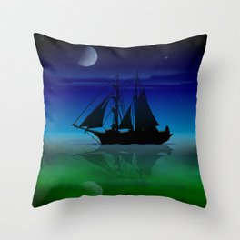 Sailing On A Sea of Green. Throw Pillow
