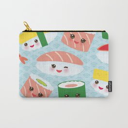 pattern Kawaii funny sushi rolls set with pink cheeks and big eyes, emoji Carry-All Pouch