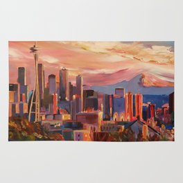 Seattle Skyline with Space Needle and Mt Rainier Rug