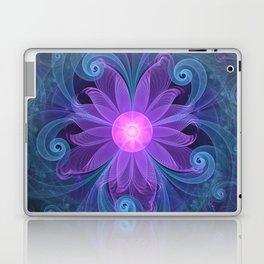 Blown Glass Flower of an ElectricBlue Fractal Iris Laptop & iPad Skin
