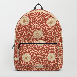 70's Red Floral Backpack