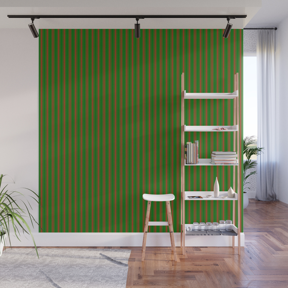 Christmas Red And Green Bed Stripe Wall Mural by Podartist WMP7960172