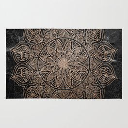 Mandala - rose gold and black marble 4 Rug
