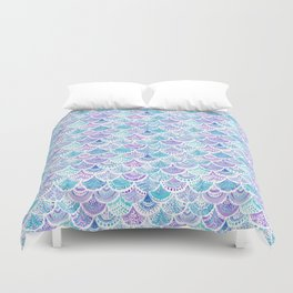Mystical MERMAID DAYDREAMS Watercolor Scales Duvet Cover