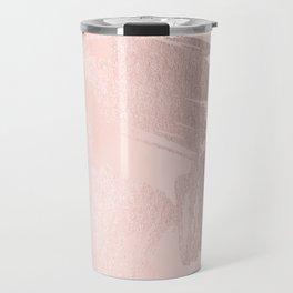 Rose Gold Pastel Pink Paint Brush Travel Mug