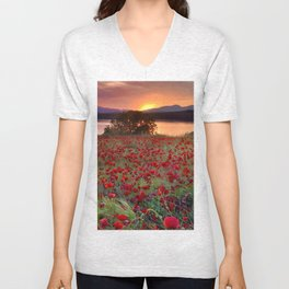 Sea of poppies at the lake Unisex V-Neck