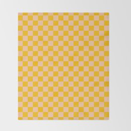 Deep Peach Orange and Amber Orange Checkerboard Throw Blanket