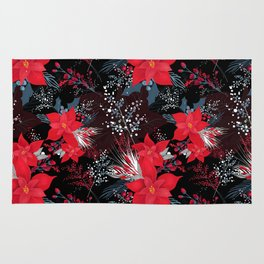 Christmas Poinsettia Flowers Rug