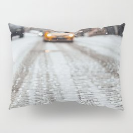Yellow cab during snow Pillow Sham